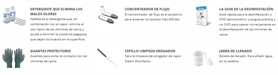Accesorios incluídos en Cimex Eradicator Polti